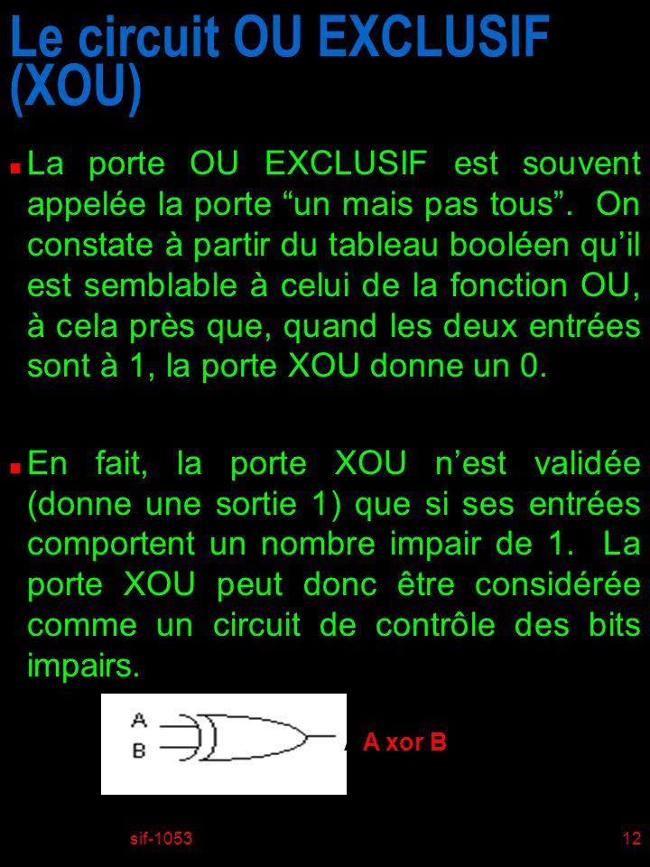 Le circuit OU EXCLUSIF (XOU)