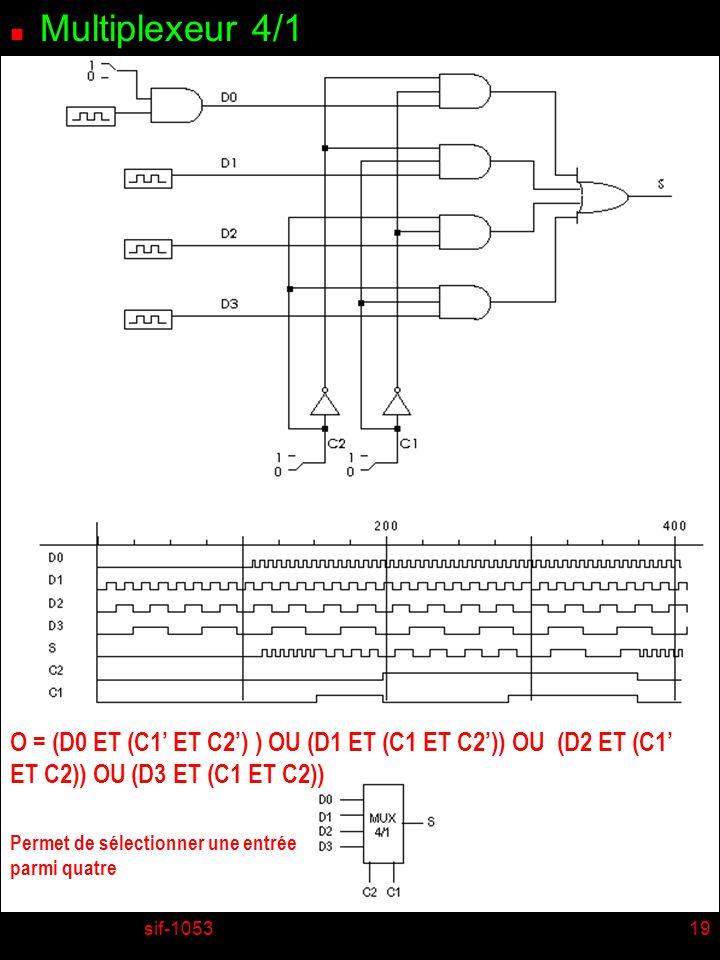 Multiplexeur 4/1 O = (D0 ET (C1' ET C2') ) OU (D1 ET (C1 ET C2')) OU (D2 ET (C1' ET C2)) OU (D3 ET (C1 ET C2))