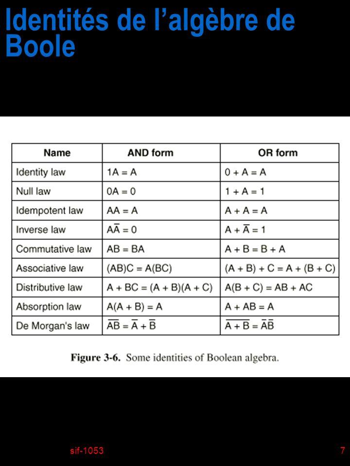 Identités de l'algèbre de Boole