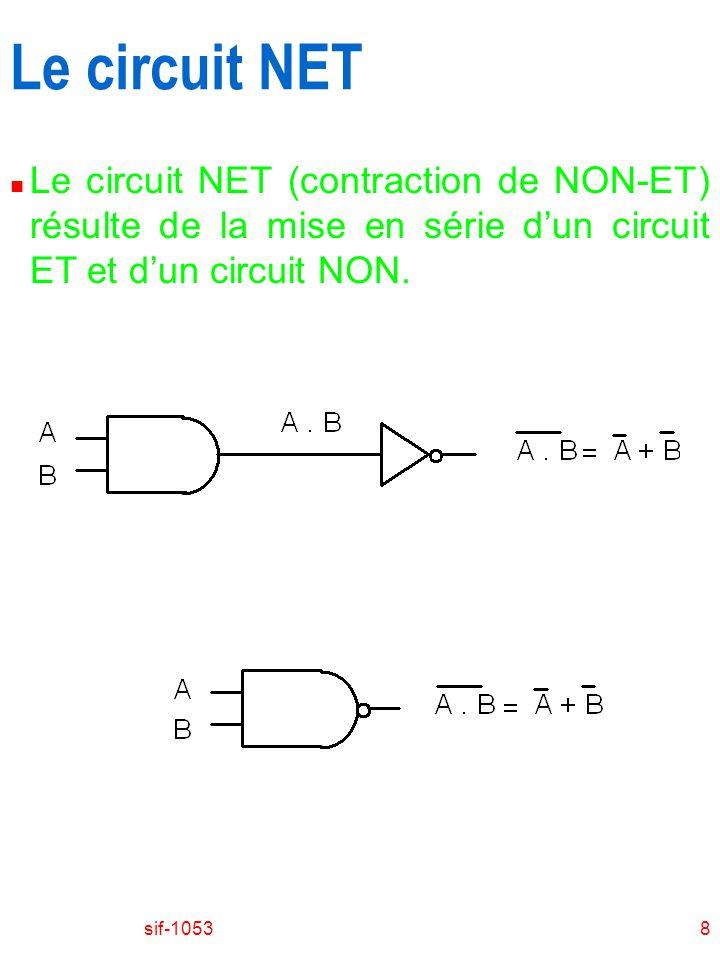 Le circuit NET Le circuit NET (contraction de NON-ET) résulte de la mise en série d'un circuit ET et d'un circuit NON.