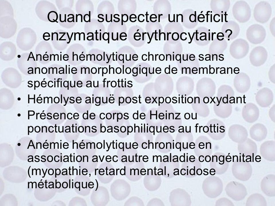 Quand suspecter un déficit enzymatique érythrocytaire