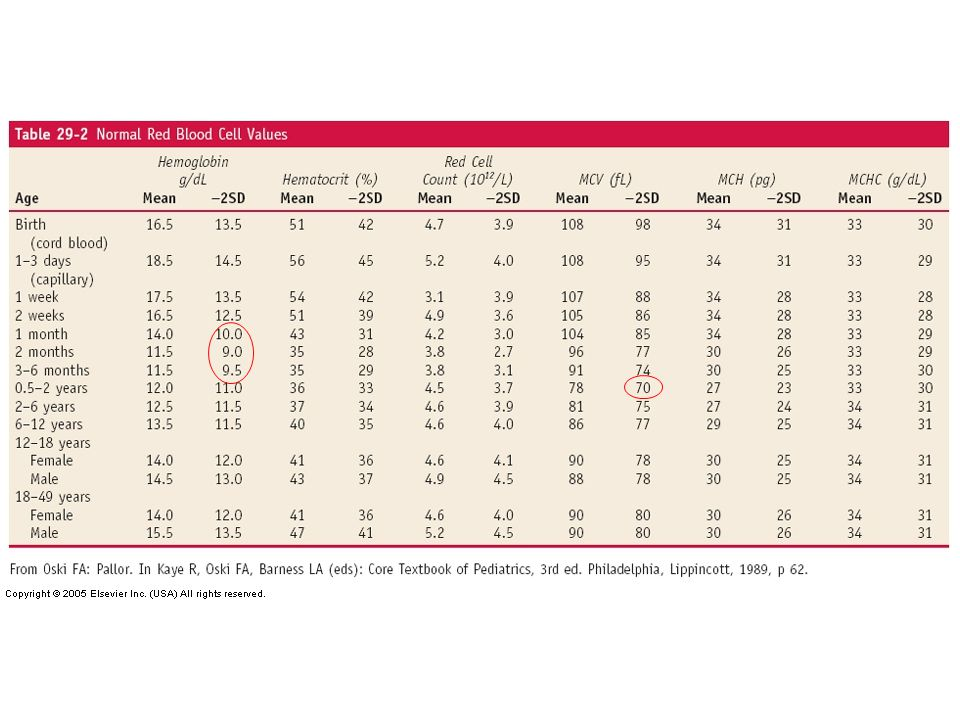 Anémie physiologique réfère à la baisse considérée normale Hb à partir de 4-8 semaines de vie avant de d 'augmenter graduellement durant l'enfance