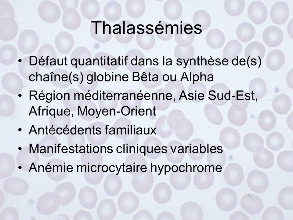 Thalassémies Défaut quantitatif dans la synthèse de(s) chaîne(s) globine Bêta ou Alpha. Région méditerranéenne, Asie Sud-Est, Afrique, Moyen-Orient.