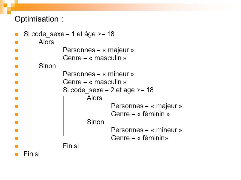 Optimisation : Si code_sexe = 1 et âge >= 18 Alors