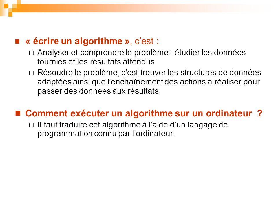 « écrire un algorithme », c'est :