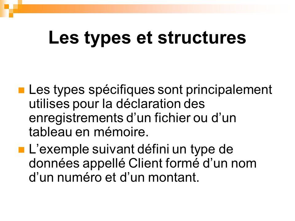 Les types et structures