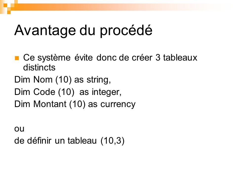 Avantage du procédé Ce système évite donc de créer 3 tableaux distincts. Dim Nom (10) as string, Dim Code (10) as integer,