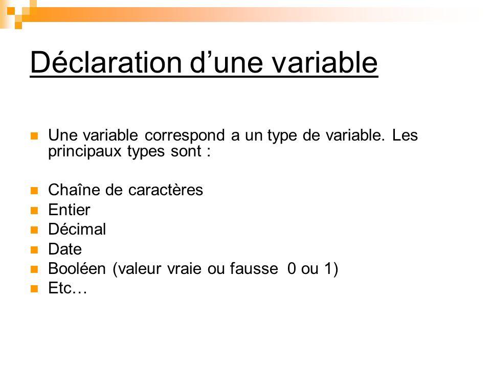 Déclaration d'une variable