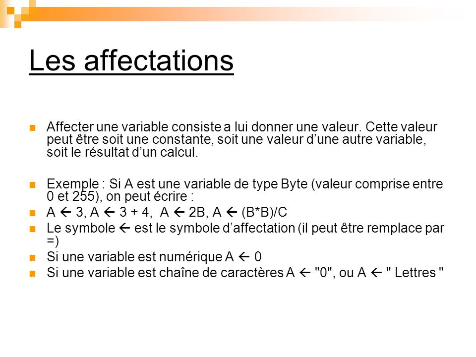 Les affectations
