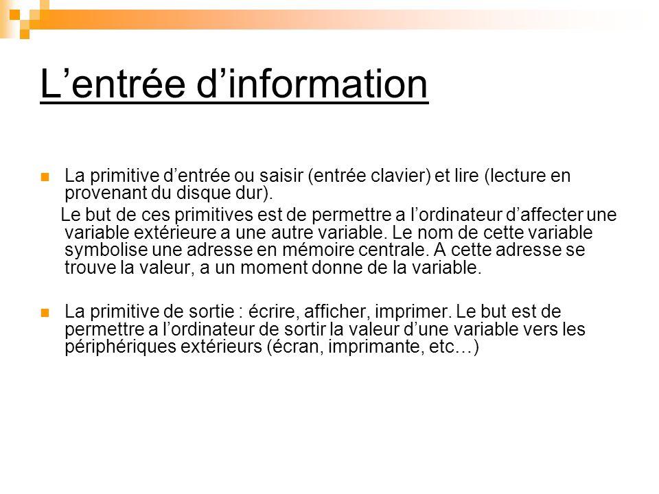L'entrée d'information
