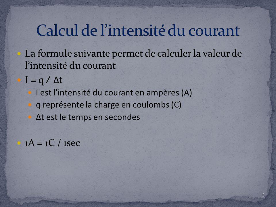 Calcul de l'intensité du courant