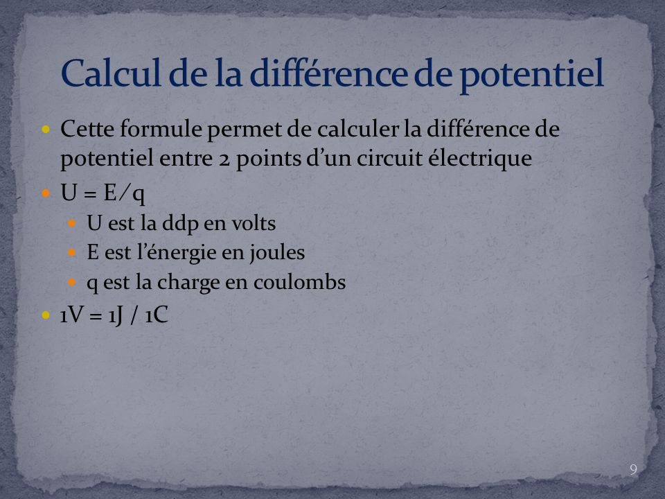 Calcul de la différence de potentiel