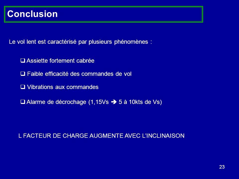 Conclusion Le vol lent est caractérisé par plusieurs phénomènes :