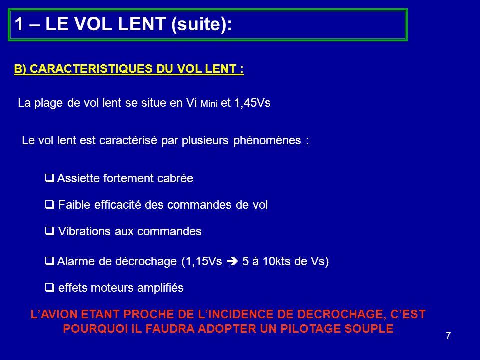 1 – LE VOL LENT (suite): B) CARACTERISTIQUES DU VOL LENT :