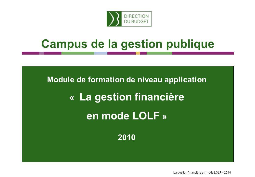 Module de formation de niveau application « La gestion financière