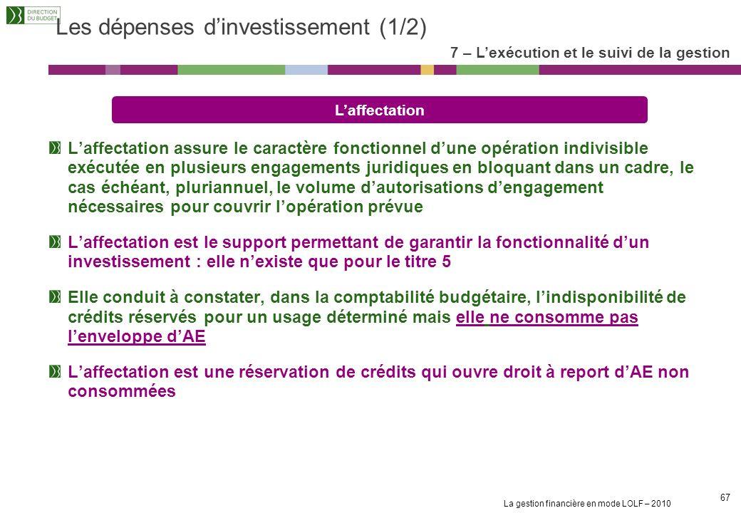 Les dépenses d'investissement (1/2)
