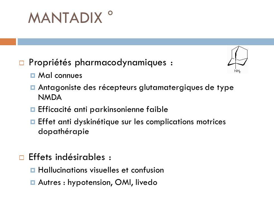 MANTADIX ° Propriétés pharmacodynamiques : Effets indésirables :