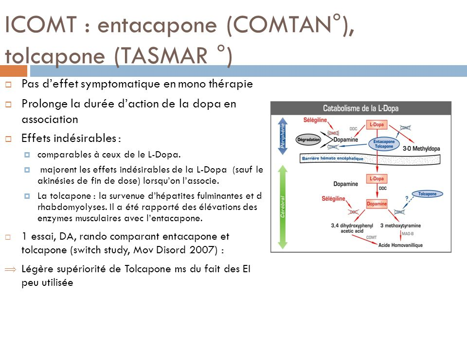 ICOMT : entacapone (COMTAN°), tolcapone (TASMAR °)