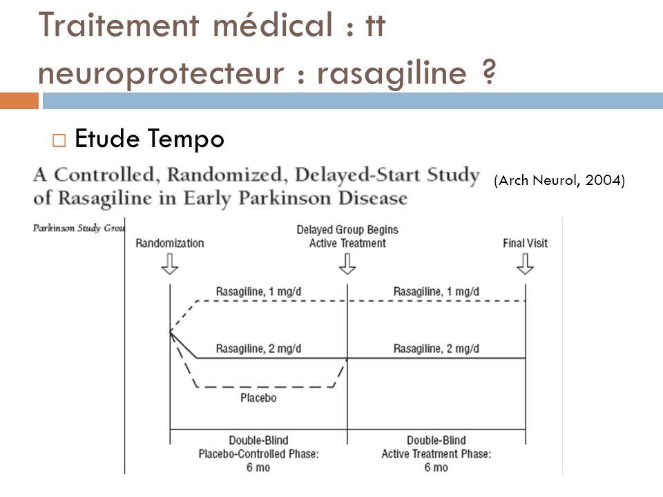 Traitement médical : tt neuroprotecteur : rasagiline