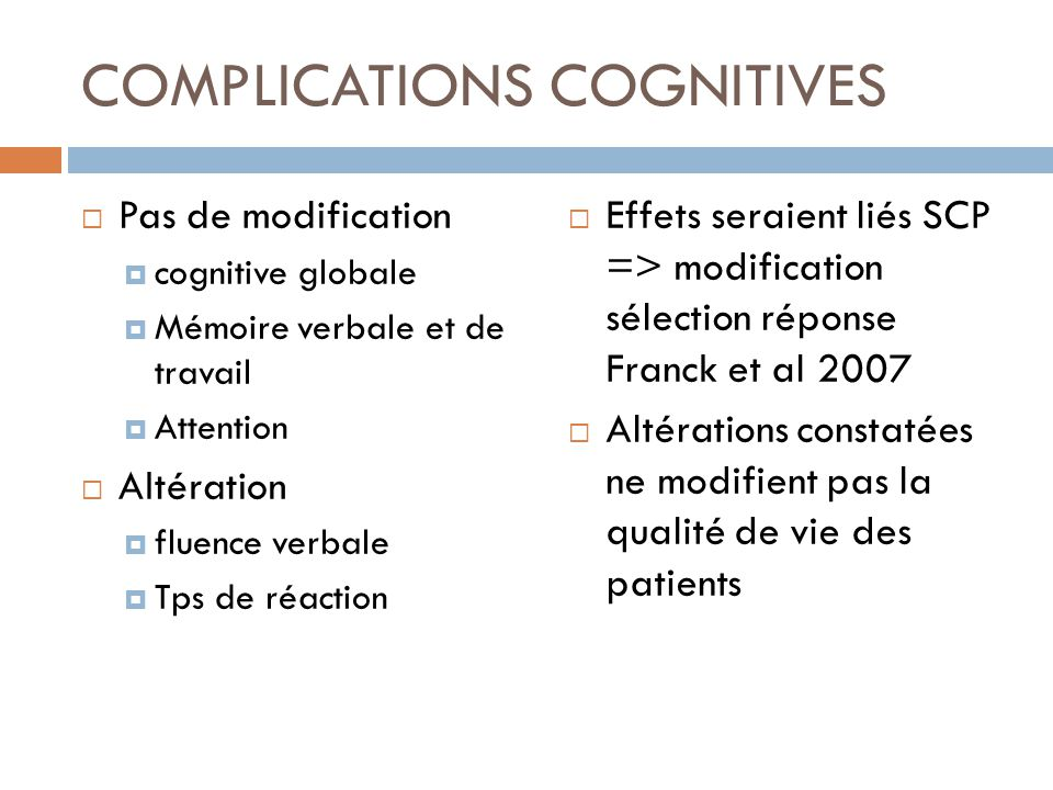 COMPLICATIONS COGNITIVES