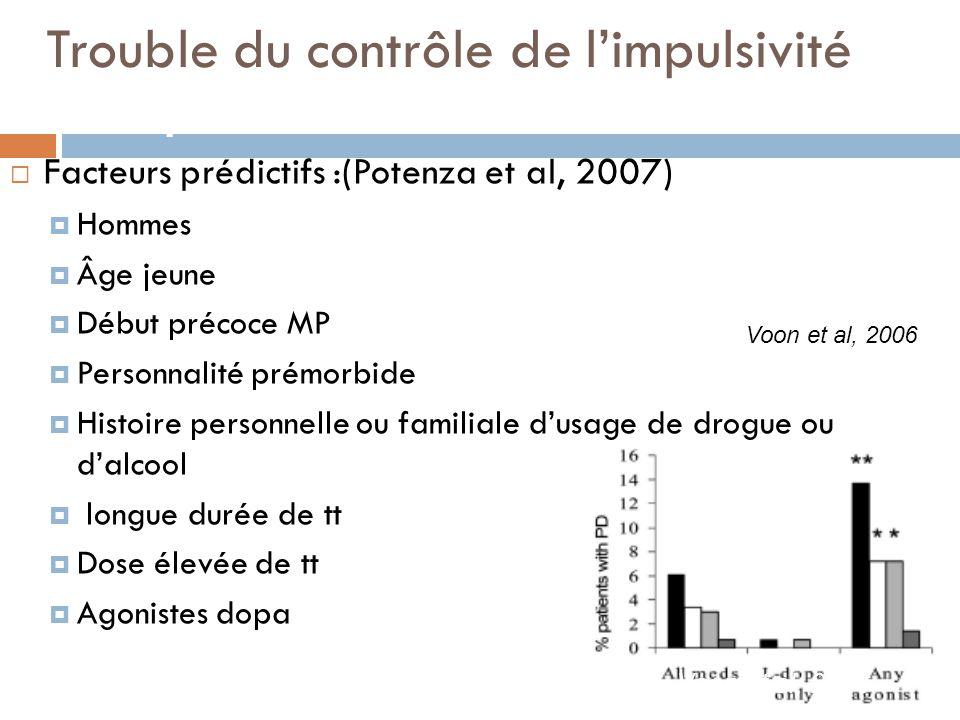 F Trouble du contrôle de l'impulsivité acteurs prédictifs