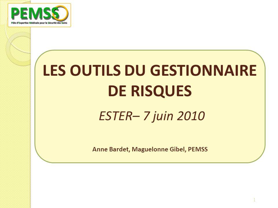 LES OUTILS DU GESTIONNAIRE DE RISQUES ESTER– 7 juin 2010 Anne Bardet, Maguelonne Gibel, PEMSS