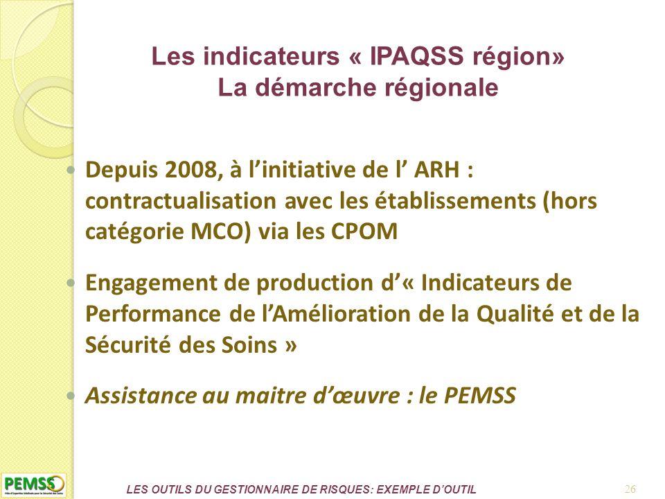 Les indicateurs « IPAQSS région» La démarche régionale