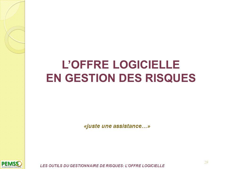 LES OUTILS DU GESTIONNAIRE DE RISQUES: L'OFFRE LOGICIELLE