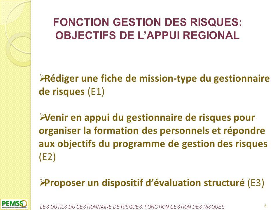 FONCTION GESTION DES RISQUES: OBJECTIFS DE L'APPUI REGIONAL