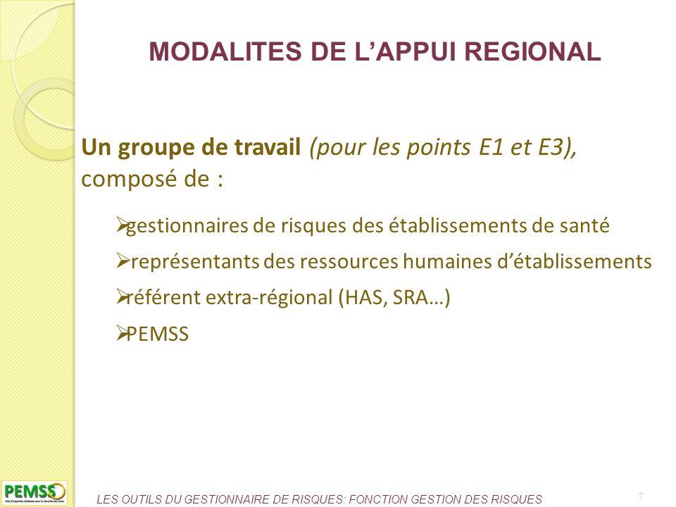 MODALITES DE L'APPUI REGIONAL