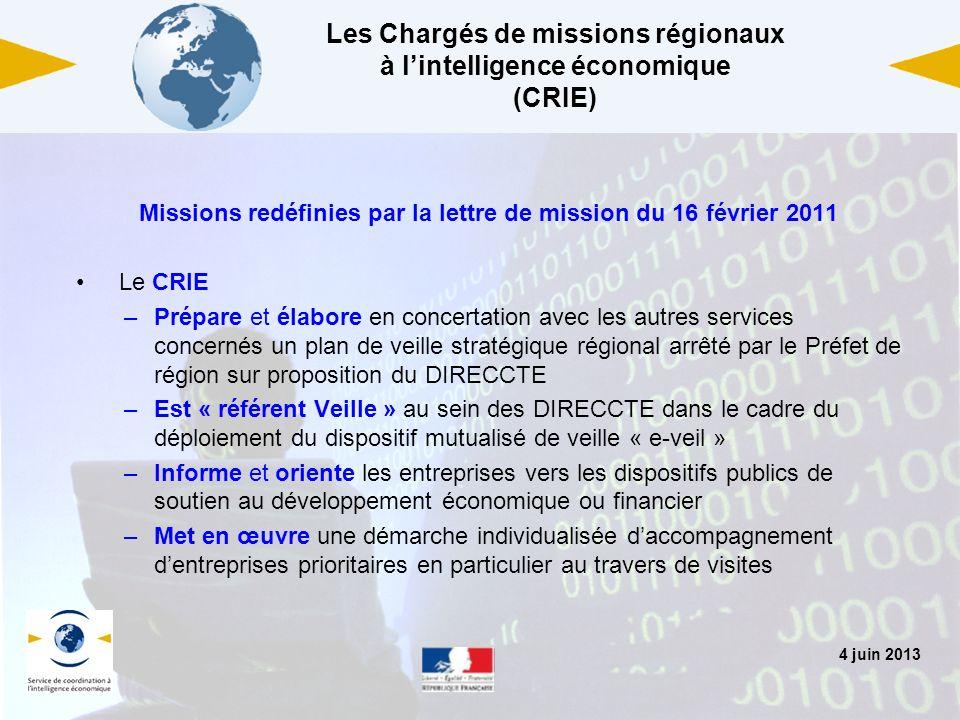 Les Chargés de missions régionaux à l'intelligence économique (CRIE)