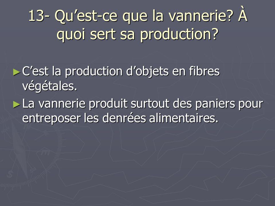 13- Qu'est-ce que la vannerie À quoi sert sa production