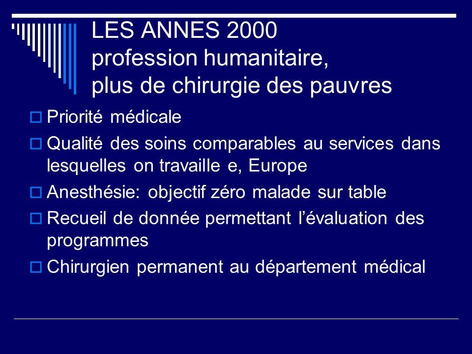 LES ANNES 2000 profession humanitaire, plus de chirurgie des pauvres