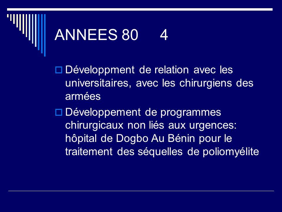 ANNEES 80 4 Développment de relation avec les universitaires, avec les chirurgiens des armées.