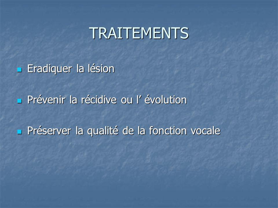 TRAITEMENTS Eradiquer la lésion Prévenir la récidive ou l' évolution