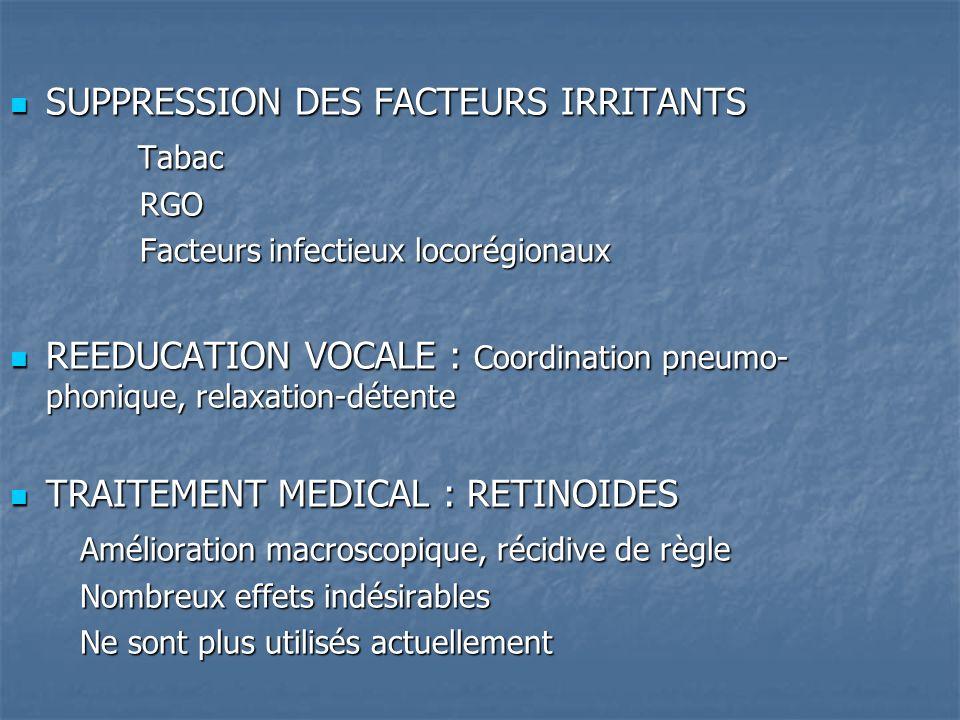 SUPPRESSION DES FACTEURS IRRITANTS Tabac