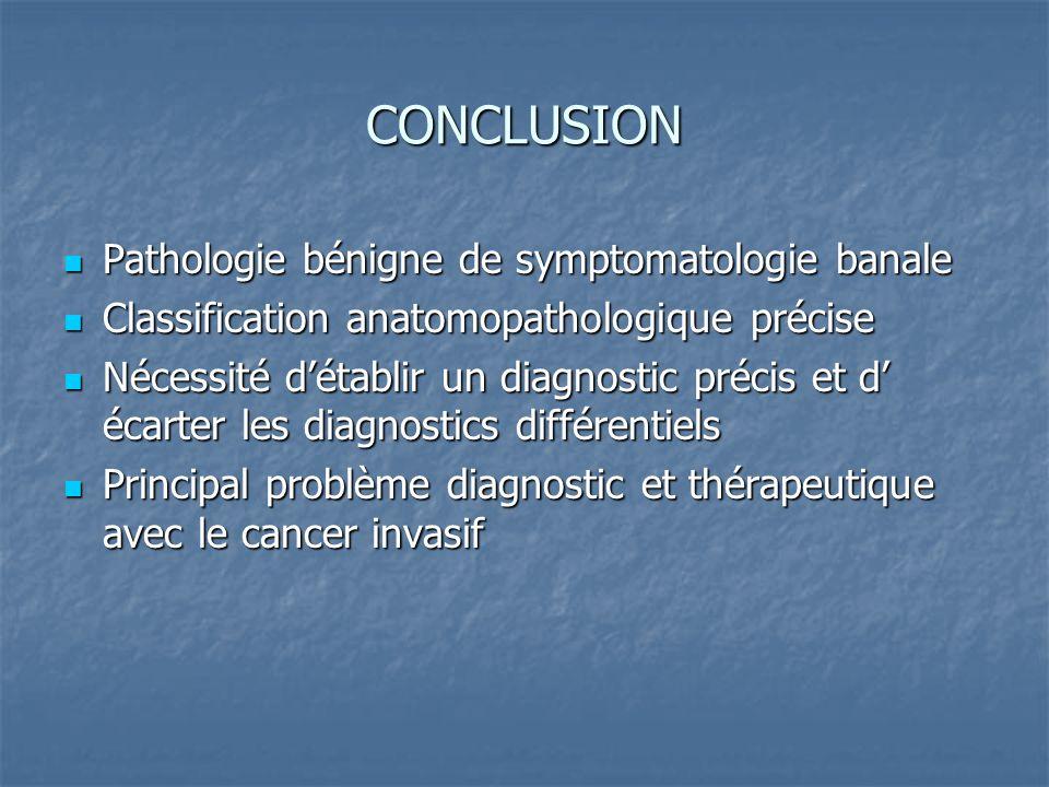 CONCLUSION Pathologie bénigne de symptomatologie banale