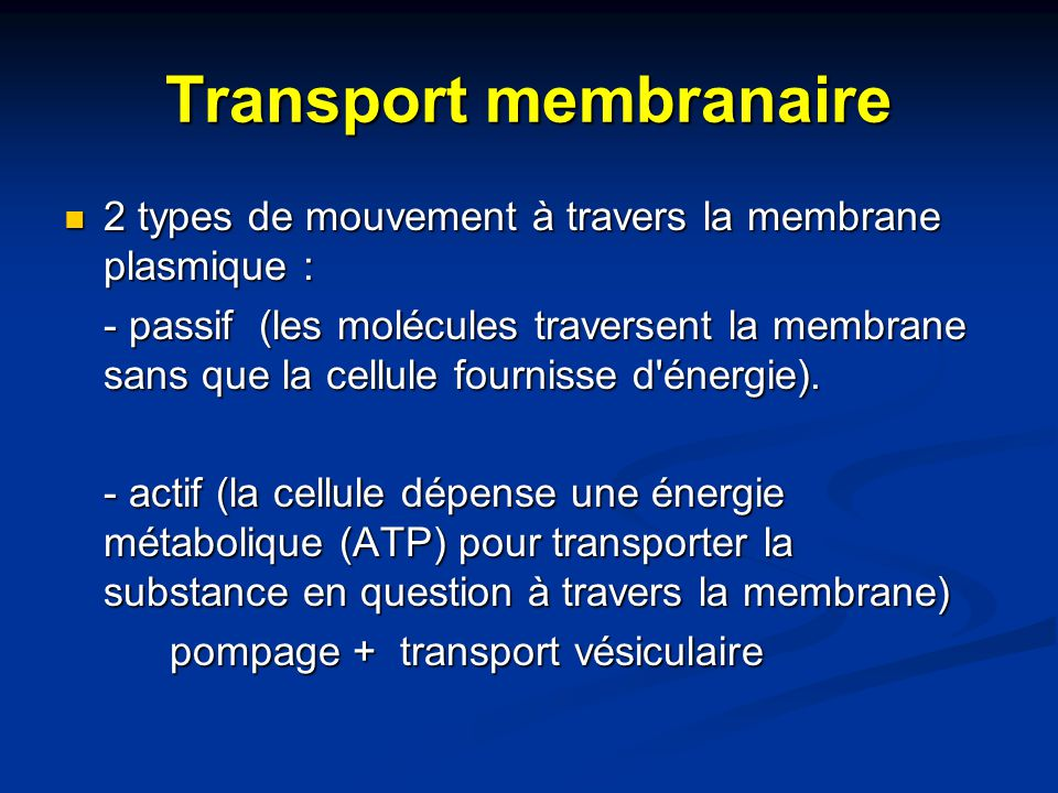 Transport membranaire