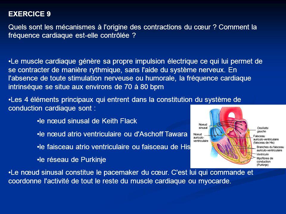 EXERCICE 9 Quels sont les mécanismes à l origine des contractions du cœur Comment la fréquence cardiaque est‑elle contrôlée