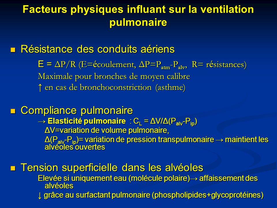 Facteurs physiques influant sur la ventilation pulmonaire