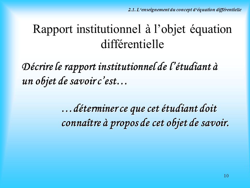 Rapport institutionnel à l'objet équation différentielle