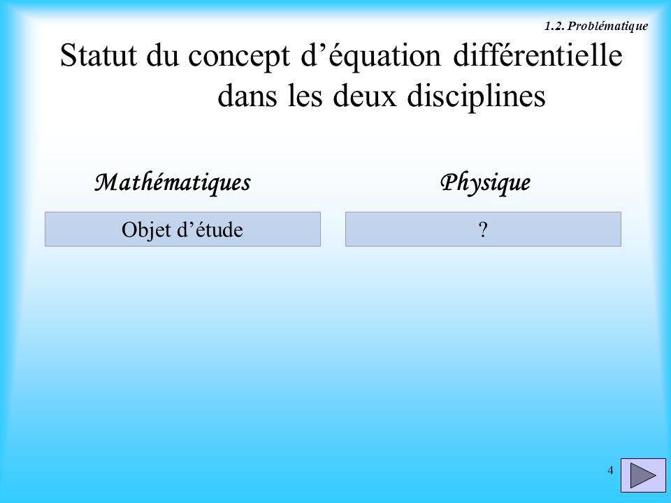 Statut du concept d'équation différentielle dans les deux disciplines