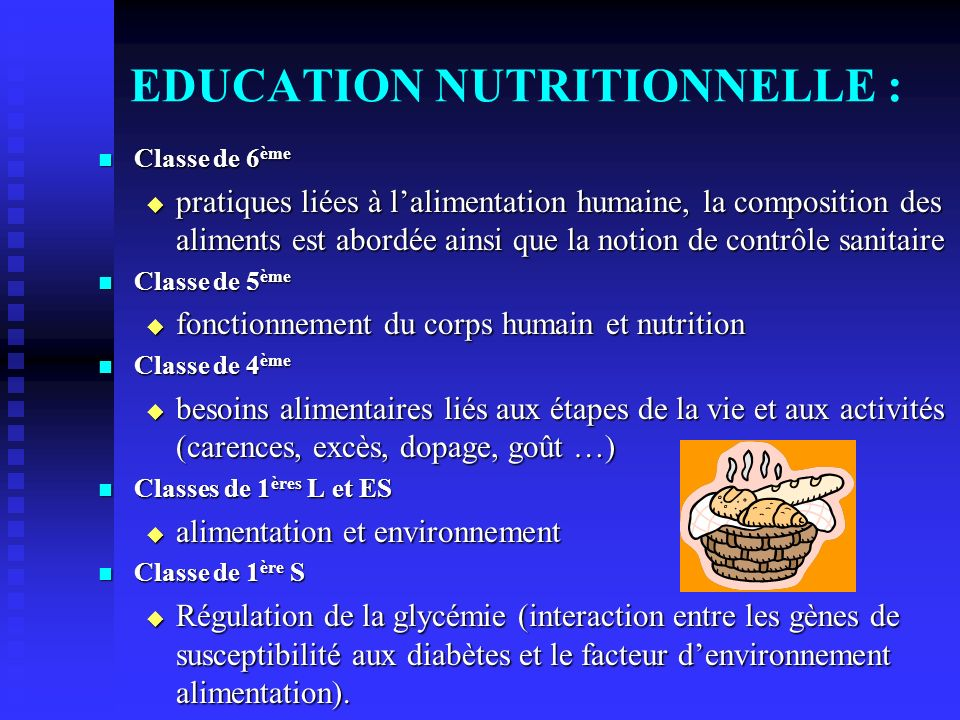 EDUCATION NUTRITIONNELLE :
