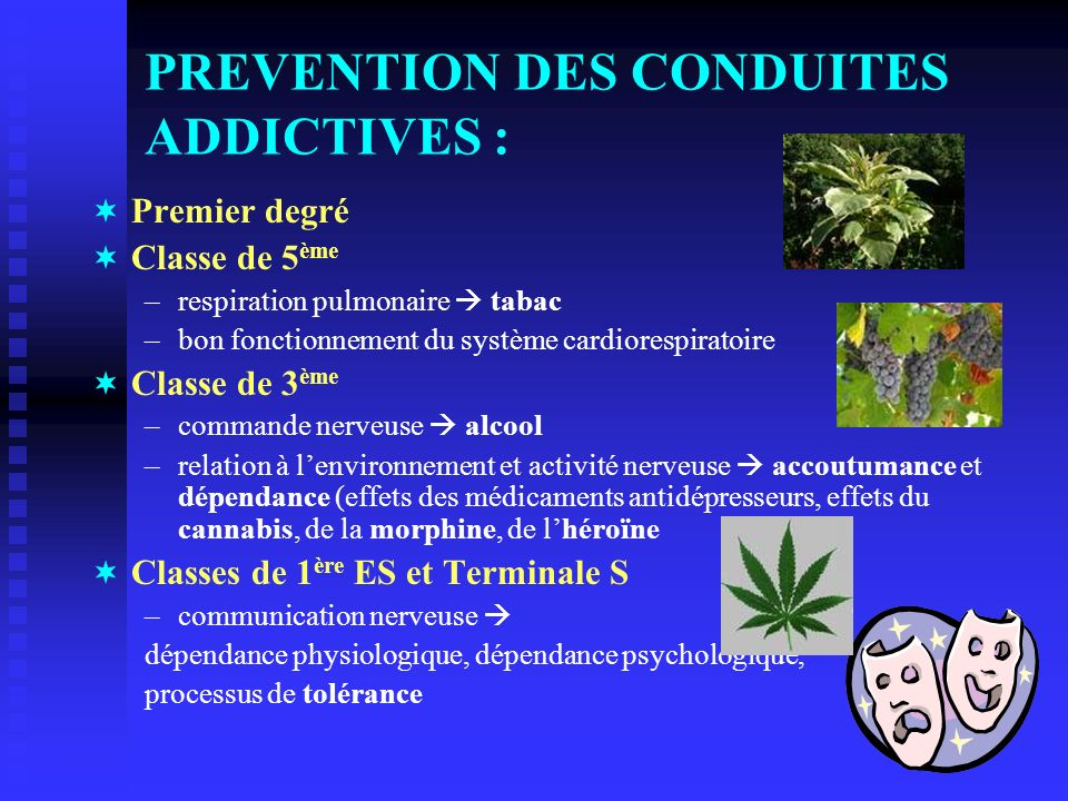 PREVENTION DES CONDUITES ADDICTIVES :