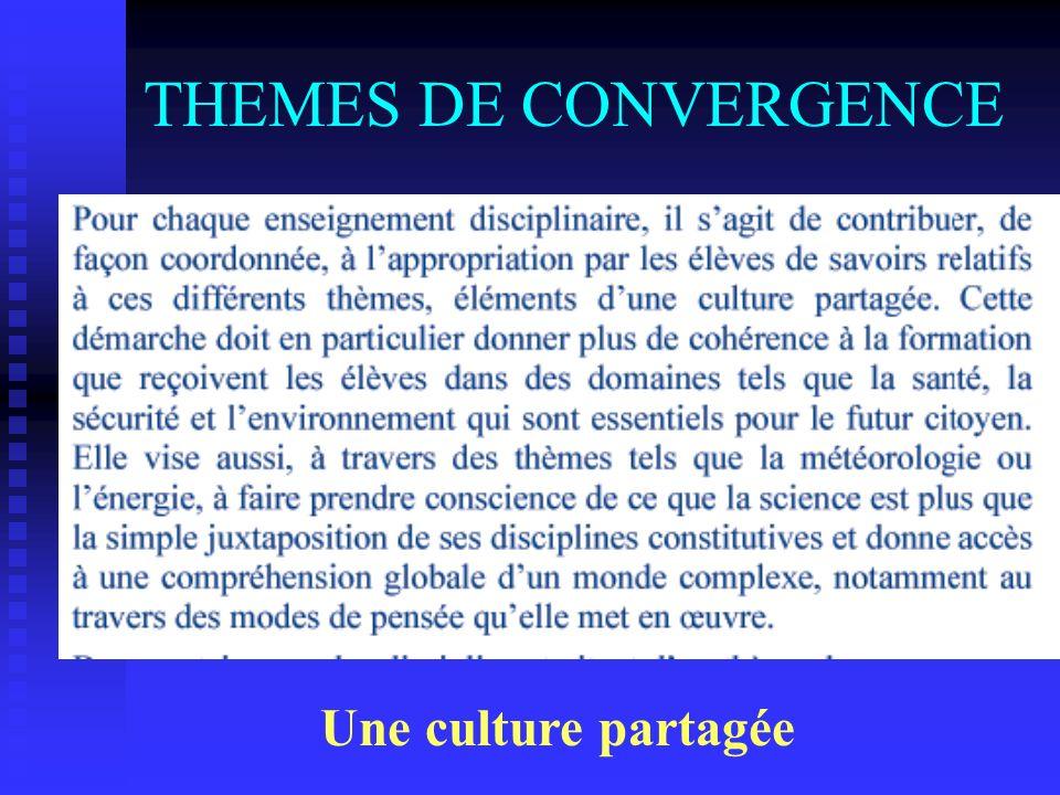 THEMES DE CONVERGENCE Une culture partagée