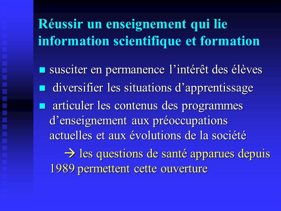 Réussir un enseignement qui lie information scientifique et formation