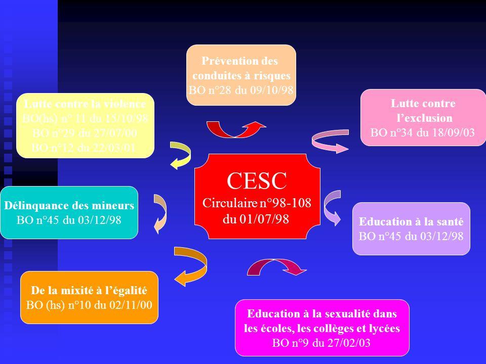 CESC Circulaire n°98-108 du 01/07/98 Prévention des