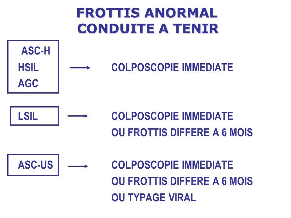 FROTTIS ANORMAL CONDUITE A TENIR