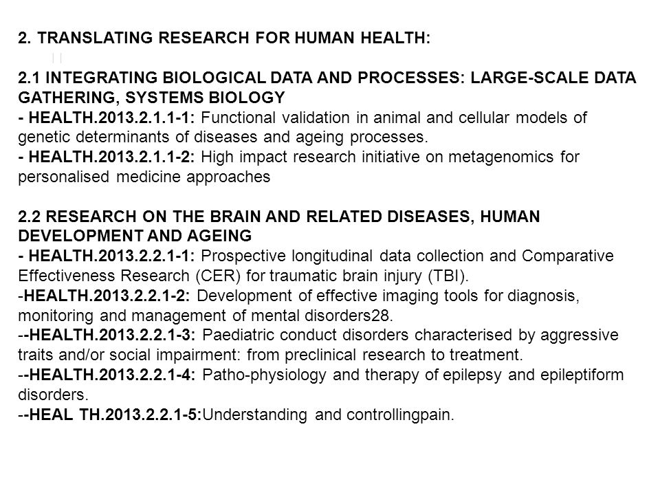 2. TRANSLATING RESEARCH FOR HUMAN HEALTH: