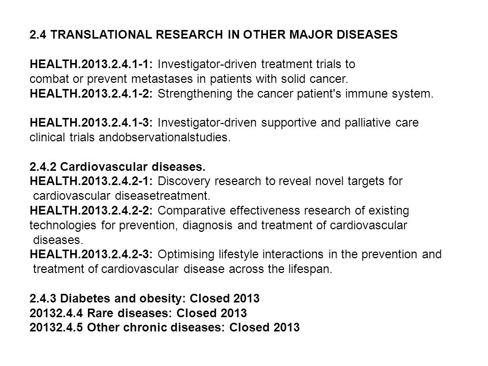 2.4 TRANSLATIONAL RESEARCH IN OTHER MAJOR DISEASES